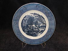 """Currier Ives Royal China Blue and White Dinner Plate 10"""" Old Grist Mill"""