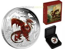 1 $ Dollar Dragons of Legend Red Welsh Dragon Tuvalu 1 oz Silber PP 2012