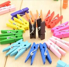 FD1737 Cute Candy Color Wood Lined Clothes Clip Pins Wooden Photo Clips ~10PCs~