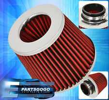 "3"" JDM WASHABLE DRY CONE HIGH PERFORMANCE RACING AIR FILTER HONDA CHROME RED"
