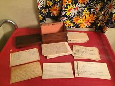 Vintage Wooden Recipe Box ALL Handwritten Over 100 Recipes Desserts Pies Cookies