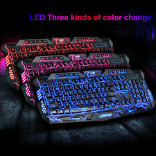 3-color USB Wired Gaming Keyboard Backlight Illuminated Multimedia For PC Laptop