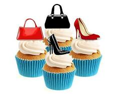 Novelty Shoes & Handbags Mix 12 Edible Stand Up wafer paper cake toppers party