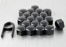 New Set 20 Car Caps Bolts Alloy Wheel for Nuts Covers 17mm Matt Black Plastic