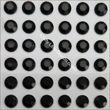 70 x 10mm BLACK Rhinestone Diamante Stick On Self Adhesive Round GEMS Diamonte