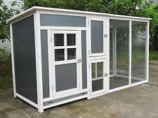 "78"" Wood Hen Chicken Duck poultry Run Hutch House Coop Cage with nesting boxes"