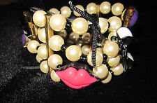 BETSEY JOHNSON FIRST DATE MARILYN LIPS BOWS AND PEARLS 4 BRACELETS WIDE