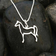 Horse Pendant on Box Chain   Sterling Silver   Length 16 Inches   No Stone
