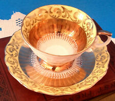 Eberthal Bavaria West German Fancy Yellow and Gold  Demitasse Cup and Saucer