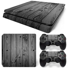 Sony PS4 Playstation 4 Slim Skin Aufkleber Schutzfolie Set - Grey Wood Motiv