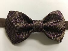 Custom Mens Pretied Adjstbl Bow Tie from Gucci GG Logo Monogram Tie Purple Brown