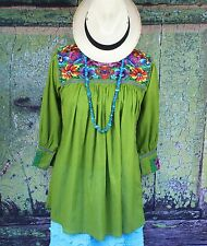 Medium Green New Style Blouse Mayan Chiapas Mexico Hippie Boho Cowgirl Peasant