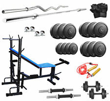 Gb Home Gym Set 8 in 1 Bench+30kg Weight+3ftCurl+5ft Plain Rod+Accessories