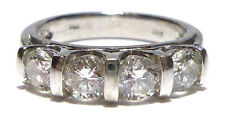 DESIGNER DBS 14K WHITE GOLD FOUR STONE 1.25CT ROUND BRILLIANT DIAMOND RING BAND