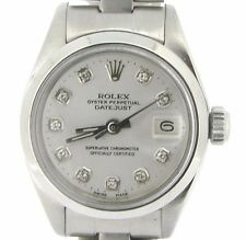 Rolex Datejust Lady Stainless Steel SS Watch Oyster Band White Diamond Dial 6916