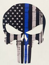 "3"" Punisher Skull American Flag Police Blue Line Decal Sticker Graphic USA JDM"