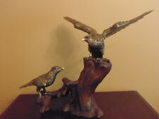 RARE! Japanese VINTAGE Cast Iron Hawk Eagle Birds Statue ART Metal Bronze Color