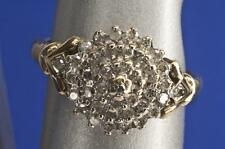 A SOLID 9ct GOLD 0.33ct DIAMOND CLUSTER RING SIZE M/N (US 6.5)