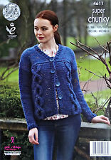 KNITTING PATTERN Ladies Long Sleeve Cable Cardigan Super Chunky King Cole 4611