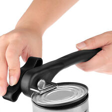 Portable Stainless Steel Can Opener with Easy Turn Knob Kitchen Tool Black