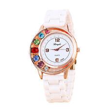 HOT Fashion LUXURY Women Dress Watch CASUAL Ceramic Rhinestone Lady Wrist Watch