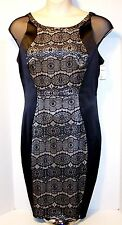 NEW $110 Tag CHAYA Size 10 Black Sheath Dress Lace on Satin Backing Fully Lined