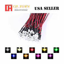 9colorsx5 45pcs 5mm Flat Top Pre-Wired White Red Light DC 9-12V LED Mix Kits