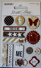 NEW 14 pc HELLO MY NAME IS  CHIPBOARD BUTTONS Stickers Tags  TERESA COLLINS