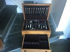 ROGERS STAINLESS FLATWARE SET + WOOD CASE