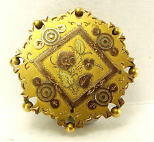 Antique 1889 VICTORIAN 9ct Gold Glazed LOCKET Brooch Perfect PENDANT Conversion