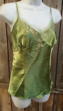 EK Designs Camisole Lime Green Satin Sequin Top Medium M