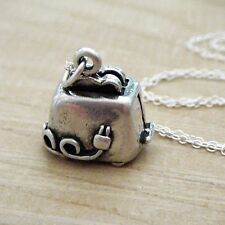 Toaster Necklace - 925 Sterling Silver - Chef Oven Charm Toast Kitchen Food NEW