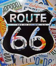 Route 66 Licence Plates behind Shield metal sign  (ga)