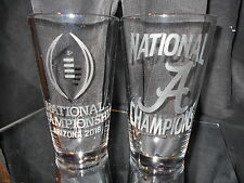2016 COLLEGE FOOTBALL PLAYOFF CHAMPIONS ALABAMA CRIMSON TIDE ETCHED PINT GLASSES