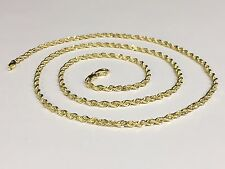 "14k Solid Yellow Gold Diamond Cut Rope Chain Necklace 30"" 2.75mm 15 grams (R021)"