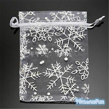 Snowflake White Jewelry Candy Organza Pouch Wedding Favor Gift Bag Box 50 pcs