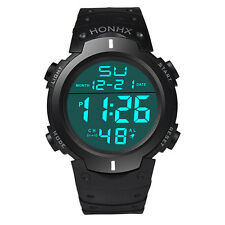 Waterproof Men's Silicone LCD Digital Stopwatch Date Rubber Sport Wrist Watch