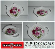 BN Fine Bone China Vintage Floral Rose Tea Bag Tidy, Tea Bag Rest Tea Bag Holder