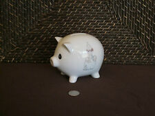 Piggy bank pig figurine white w/ multi-color boy sitting on ball design ceramic