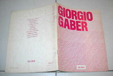 Spartiti GIORGIO GABER Omonimo Same 1984 Songbook Piano Vocal Successi