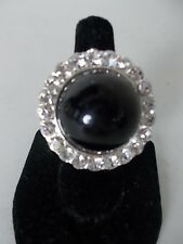 Cara New York large Black stone small crystal Cocktail Ring Sz 6 NWOT $98