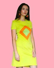 Versus Verace bright yellow orange lime sleeved dress size 8/10