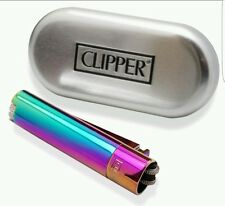 1 pcs New Clipper Rainbow Metal Lighter Butane Refillable comes w/ 1 Silver Case