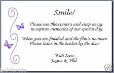 Pack of 10 Wedding Camera Poems Cards  - Lilac & Purple Butterfly Design