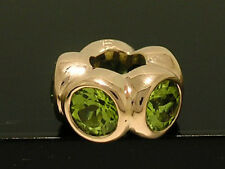 Bd039- GENUINE 9ct Solid ROSE Gold NATURAL Peridot Bead Charm