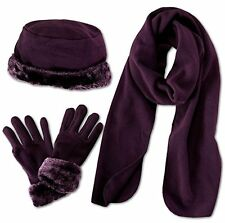Luxury Lady`s Winter Set of 3 Pieces Fur Trim Hat, Scarf and Gloves Purple