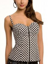 GUESS SHAYLA BLACK WHITE  CORSET STRETCH BUSTIER CHECK PLAID  TOP SIZE XS NWOT