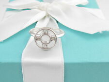 TIFFANY & CO SILVER ATLAS MEDALLION RING BAND SIZE 6.5 BOX INCLUDED