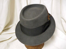 Vintage Mallory Durafelt Pork Pie Fedora Hat wide Band Grosgrain Ribbon  7 1/8