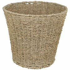JVL Natural Round Seagrass Waste Paper Basket Bin